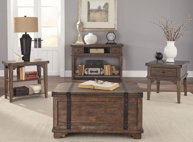 Aspen Skies Russet Brown Motion Occasional Table Set