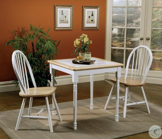 4191 Natural and White Square Tile Top Dining Table