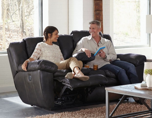 Aria Chocolate Lay Flat Reclining Console Loveseat