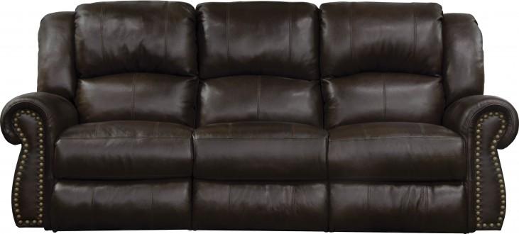 Messina Chocolate Leather Lay Flat Power Reclining Sofa