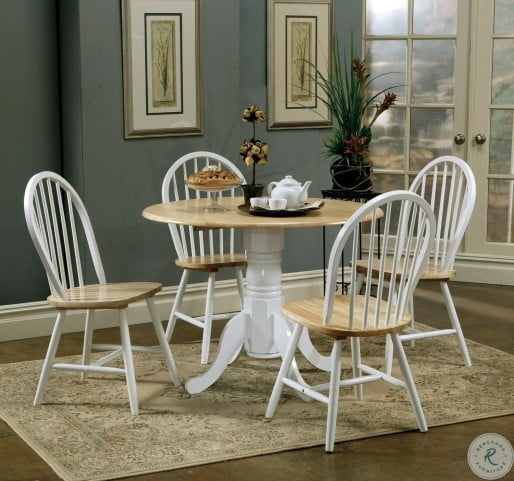 4241 Natural Brown and White Drop Leaf Dining Table