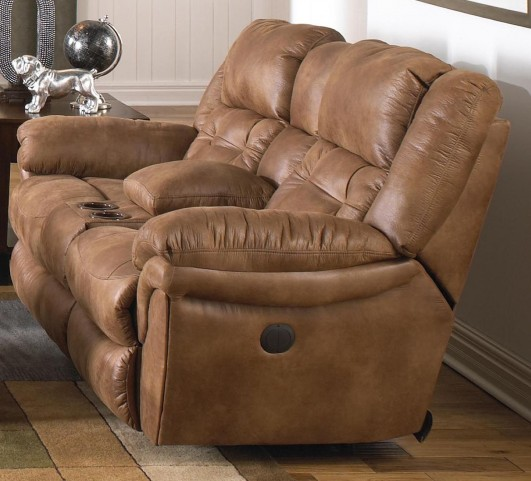 Joyner Almond Reclining Loveseat with Console