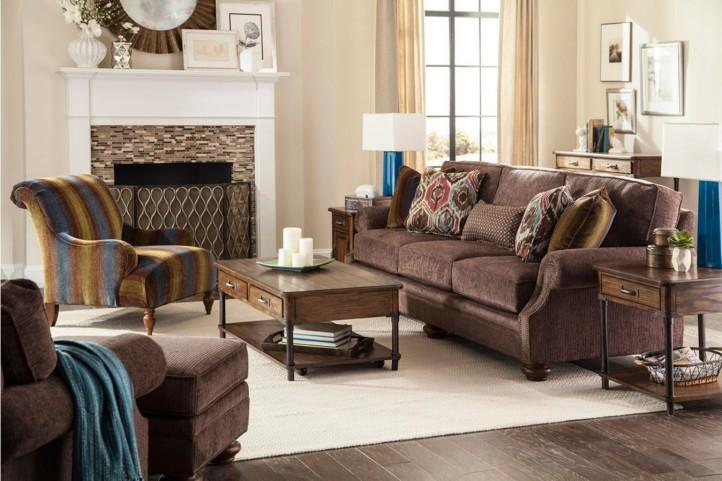 Heuer Walnut Chenille Fabric Living Room Set