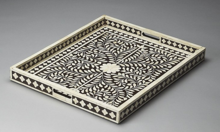 Hors D'Oeuvres Brown Bone Inlay Serving Tray