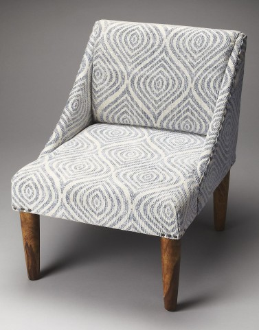 Gilmore Blue & White Cotton Stonewash Slipper Chair