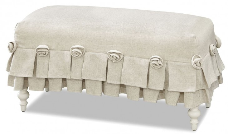Genevieve French White Bed Bench
