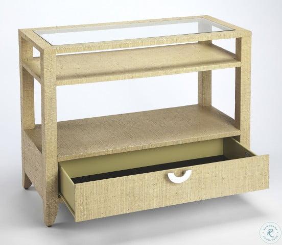 Amelle Cream Raffia Console Table