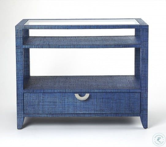 Amelle Blue Raffia Console Table