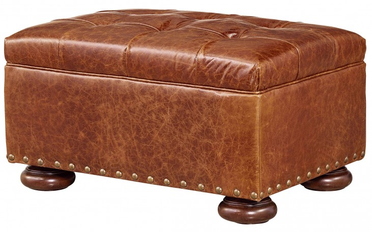 Curated Maxwell Sumatra Leather Ottoman