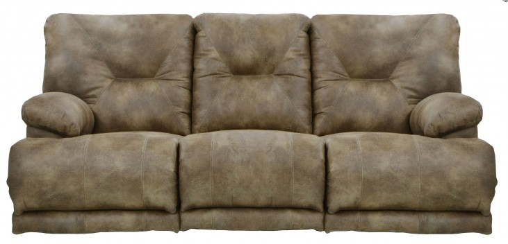 Voyager Brandy Reclining Sofa With 3 Recliners