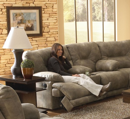 Voyager Brandy Power Reclining Loveseat with Console