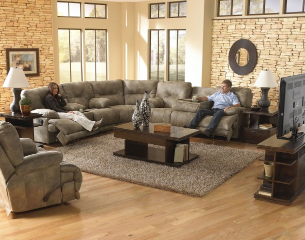 Voyager Brandy Reclining Sectional