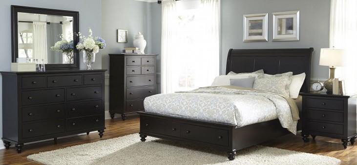 Hamilton III Black Sleigh Storage Bedroom Set