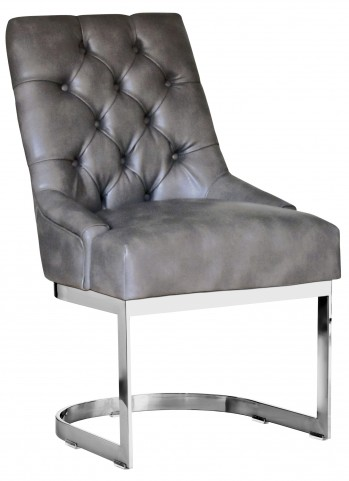 Hoxton Dining Chair Leather In Grey Nobility