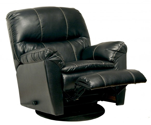 Cosmo Black Leather Swivel Glider Recliner