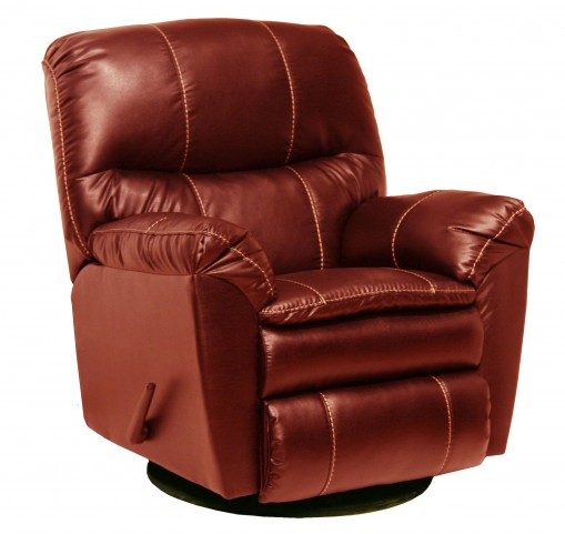 Cosmo Red Leather Swivel Glider Recliner