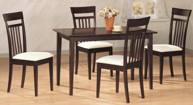 Cappuccino 5 Piece Rectangular Dining Room Set Chair 4430