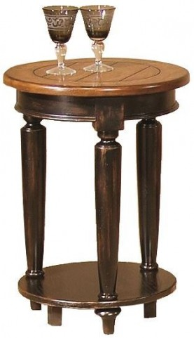 Country Vista Black and Golden Round End Table