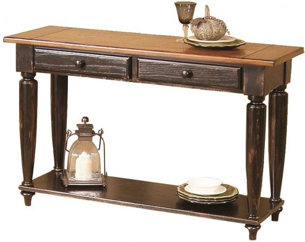 Country Vista Antique Black and Golden Sofa Table
