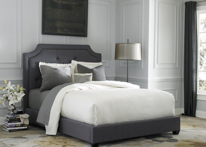 Dark Gray Upholstered Queen Upholstered Bed