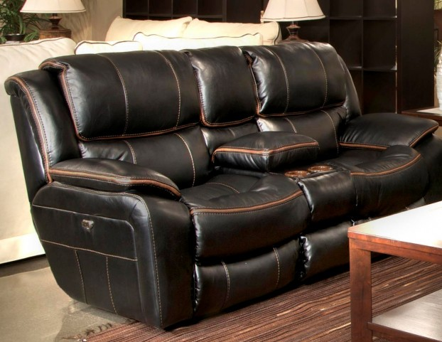 Beckett Black Reclining Console Loveseat