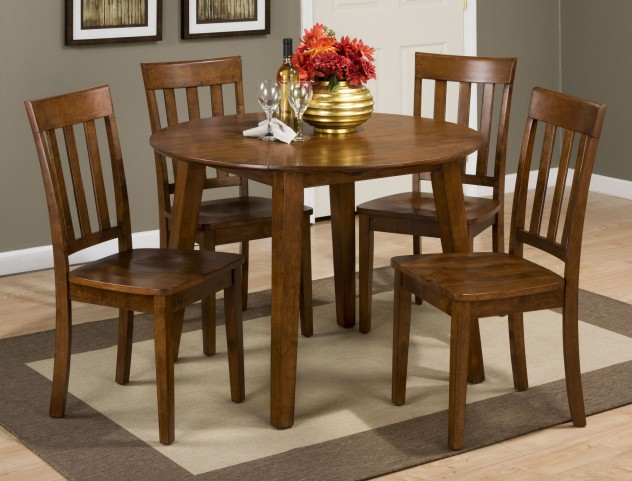Simplicity Caramel Extendable Round Drop-Leaf Dining Room Set