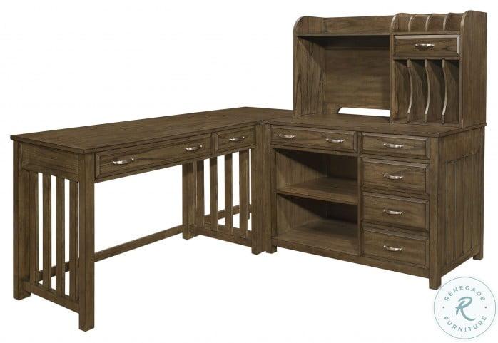 Blanche Brown Gray L Shape Desk
