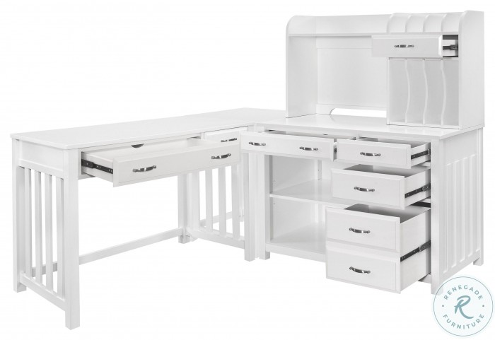 Blanche White L Shape Desk