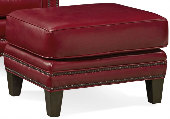 Pendleton Crestview Red Leather Ottoman