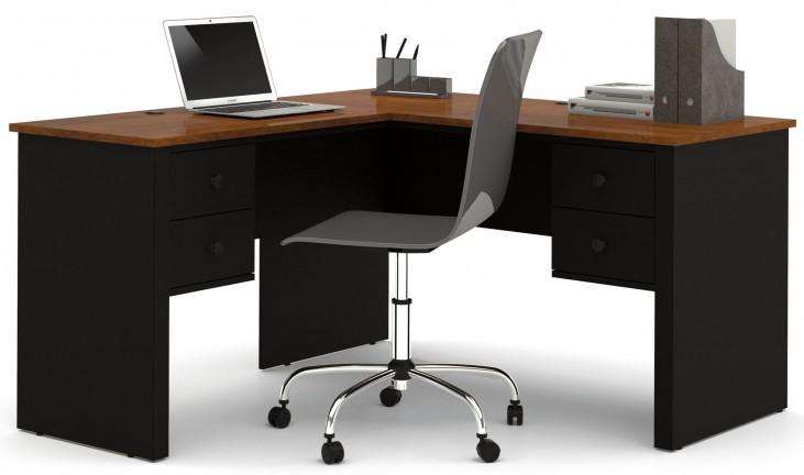 Somerville Black & Tuscany Brown L-Shaped Desk