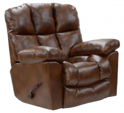 Griffey Tobacco Bonded Leather Chaise Rocker Recliner