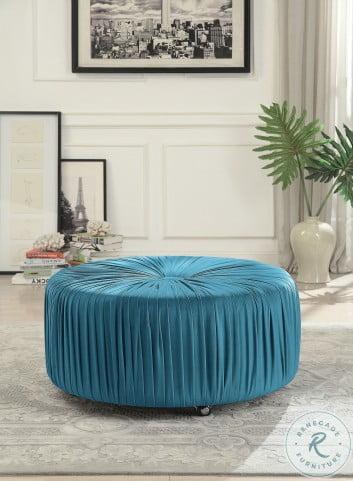 Jaunt Blue Velvet Round Ottoman