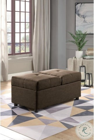 Denby Brown Storage Convertible Chair With Ottoman