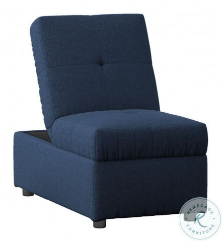 Denby Blue Storage Convertible Chair With Ottoman