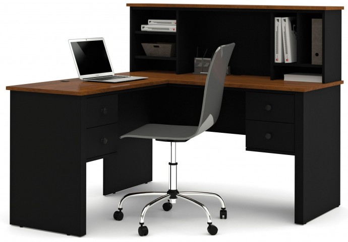 Somerville Black & Tuscany Brown L-Shaped Desk With Hutch