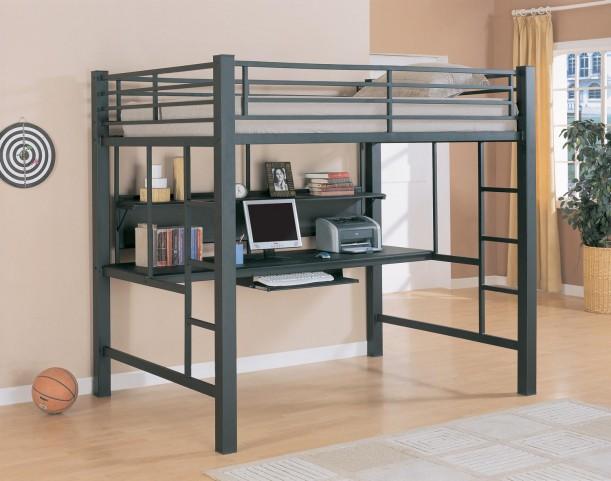 Bunks Workstation Black Full Workstation Loft Bed