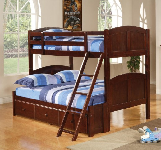 460212 Parker Cappuccino Twin Over Twin Bunk Bed