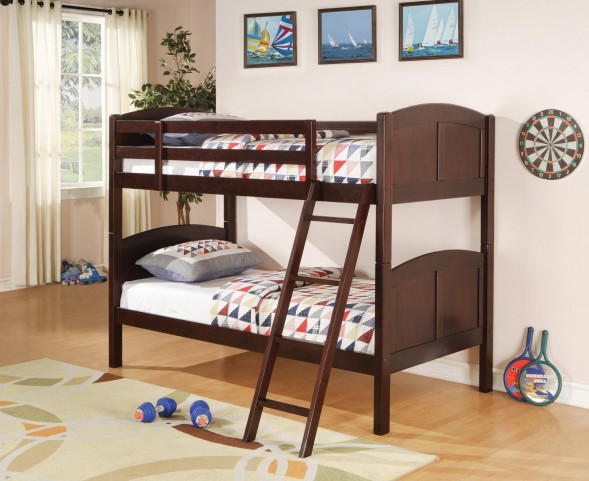 460213 Parker Cappuccino Twin Over Twin Bunk Bed
