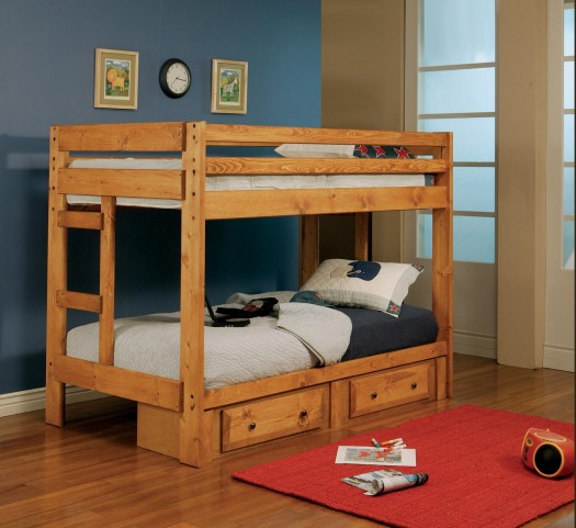 Wrangle Hill Amber Wash Twin Over Twin Bunk Bed