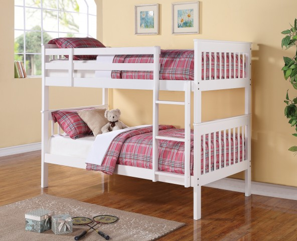 460244 White Matte Twin Over Twin Bunk Bed
