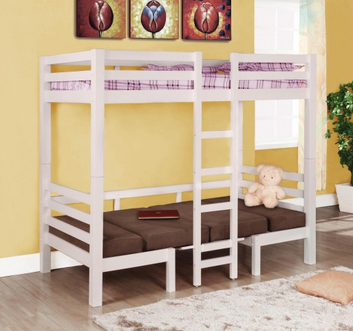 Bunks White Twin Over Twin Convertable Loft Bed 460273