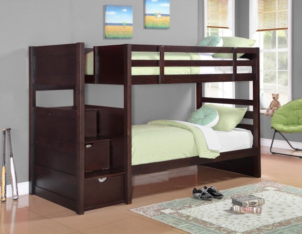 460441 Parker Cappuccino Twin Over Twin Bunk Bed