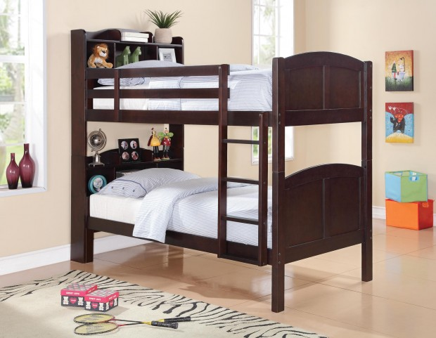 Parker Bookcase Twin Over Twin Bunk Bed