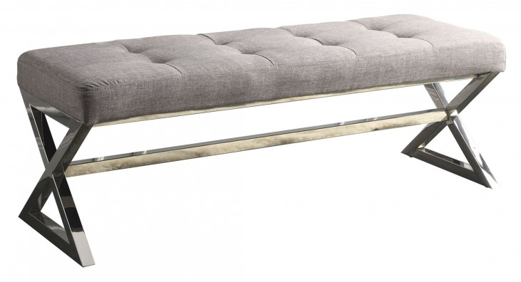 Rory gray Bonded Leather Bench