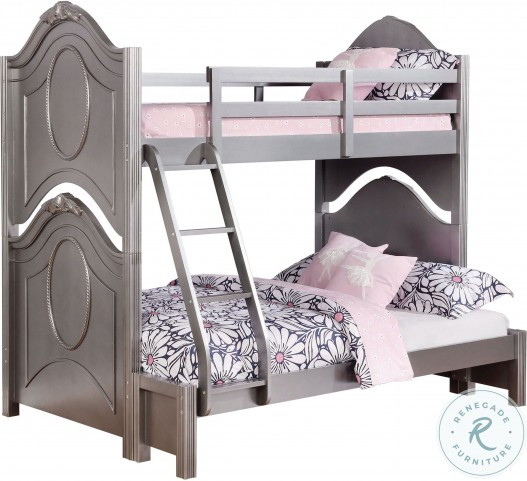 Valentine Metallic Pewter Twin Over Full Bunk Bed