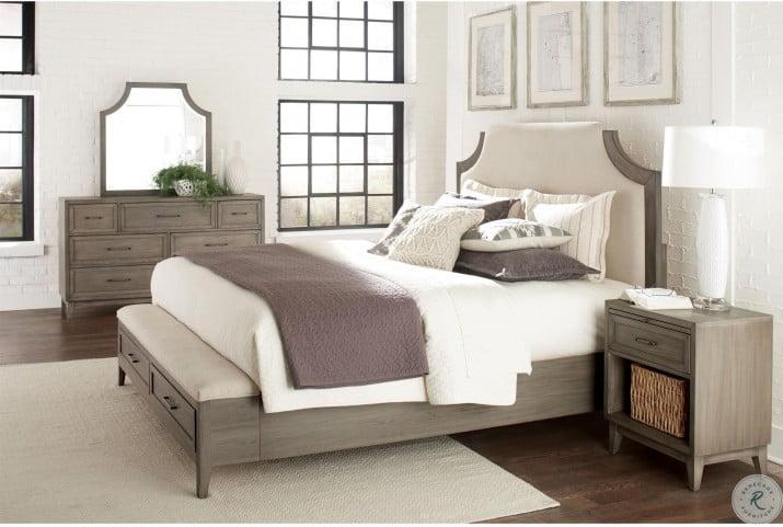 Vogue Gray Wash Upholstered Storage Bedroom Set