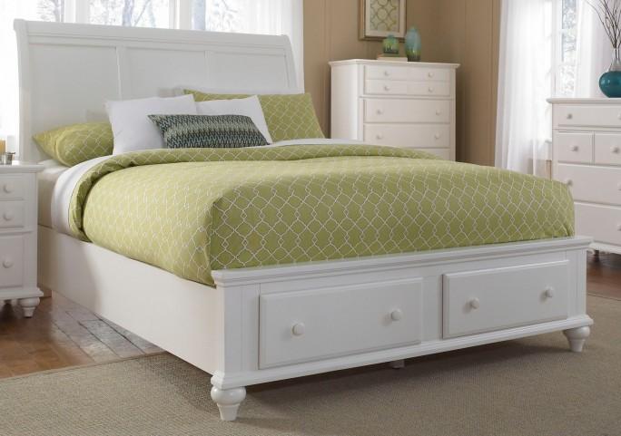 Hayden Place White Queen Storage Sleigh Bed