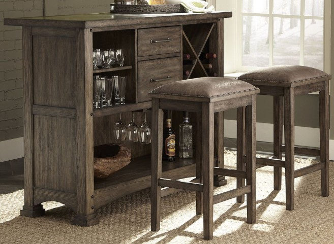 Stone Brook Rustic Saddle 3 Piece Bar Set