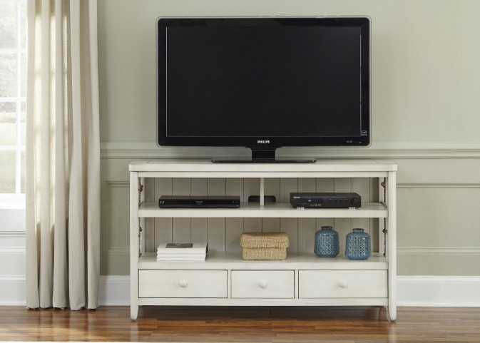 Dockside II White TV Console