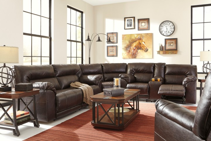 Barrettsville DuraBlend Chocolate Reclining Sectional